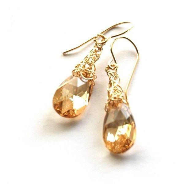 Yoola 14k Gold Champagne Swarovski Crystal Earrings 83 Aud Liked On Polyvore