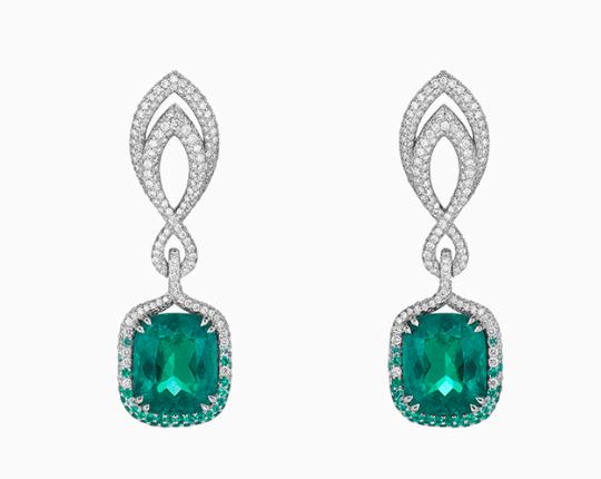18-karat White Gold, Emerald And Diamond Earrings - one size Chopard