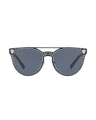 ee4ba3de4a1e Versace Studded Flat-Top Wrap Sunglasses