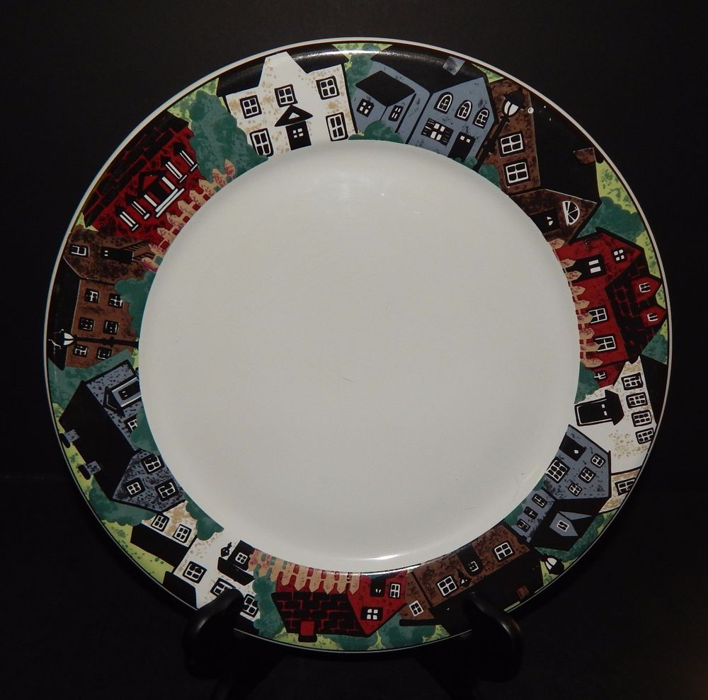 Gibson Gabbay Neighborhood SERVING PLATTER Plate 12  Houses Pattern on Rim #GibsonGabbay & Gibson Gabbay Neighborhood SERVING PLATTER Plate 12