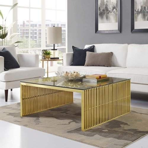 Wade Logan Gunnar Coffee Table Gold Living Room Furniture Coffee Table Stainless Steel Coffee Table