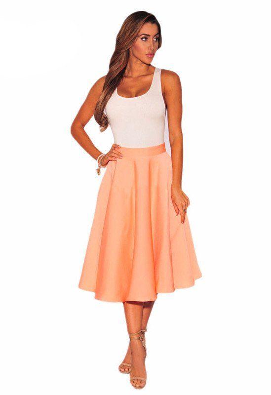 Flared A-Line Midi Skirt