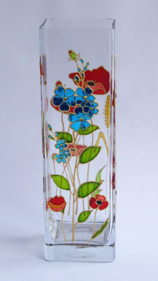 Hand Painted Glass Vase Summer Meadow Glass Vase Red Poppy Flowers