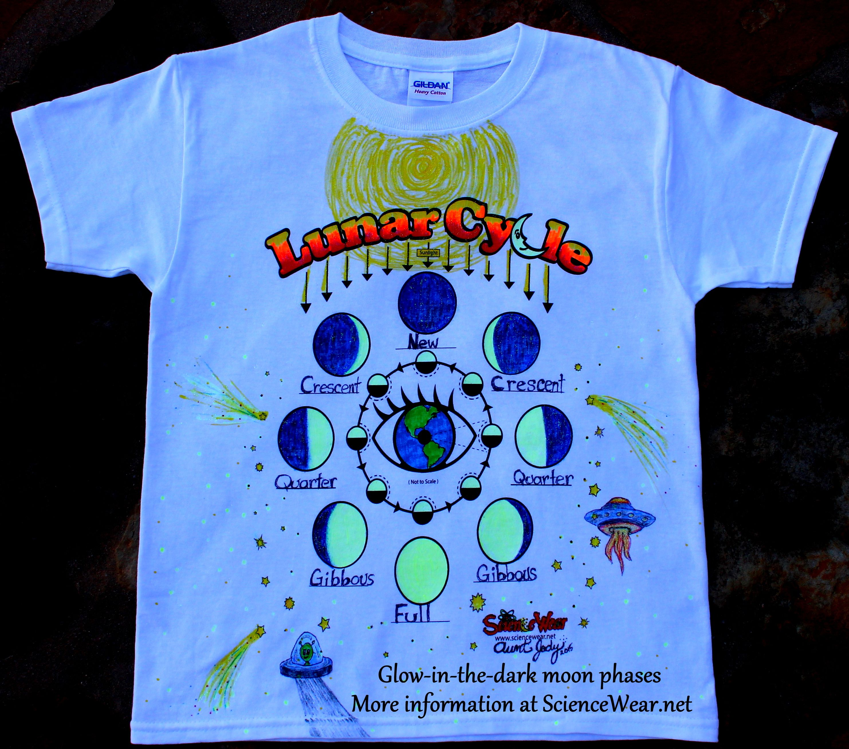 Moon phases class project paint this lunar cycle t shirt with have your students each make their own wearable moon phases shirt from sciencewear and gamestrikefo Image collections
