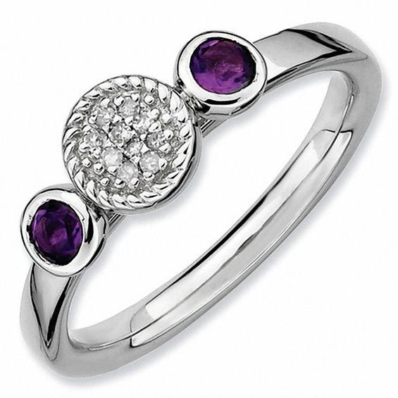Zales Stackable Expressions Amethyst and Diamond Accent Ring in Sterling Silver Cck1e