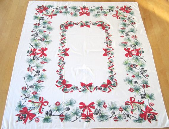 Vintage Eames Era CHRISTMAS Tablecloth Ornaments by NeatoKeen, $84.00