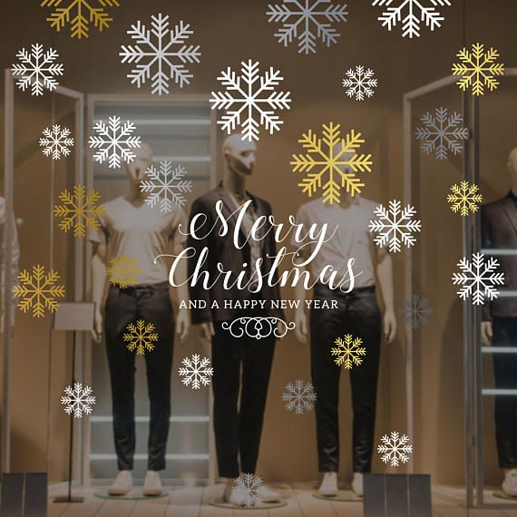 Merry Christmas Snowflakes Set Window Decal Removable