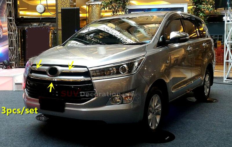For Toyota Innova 2016 2017 Abs Chrome Exterior Front Center Grille Grill Cover Trims 3pcs Toyota Innova Lamp Cover Car