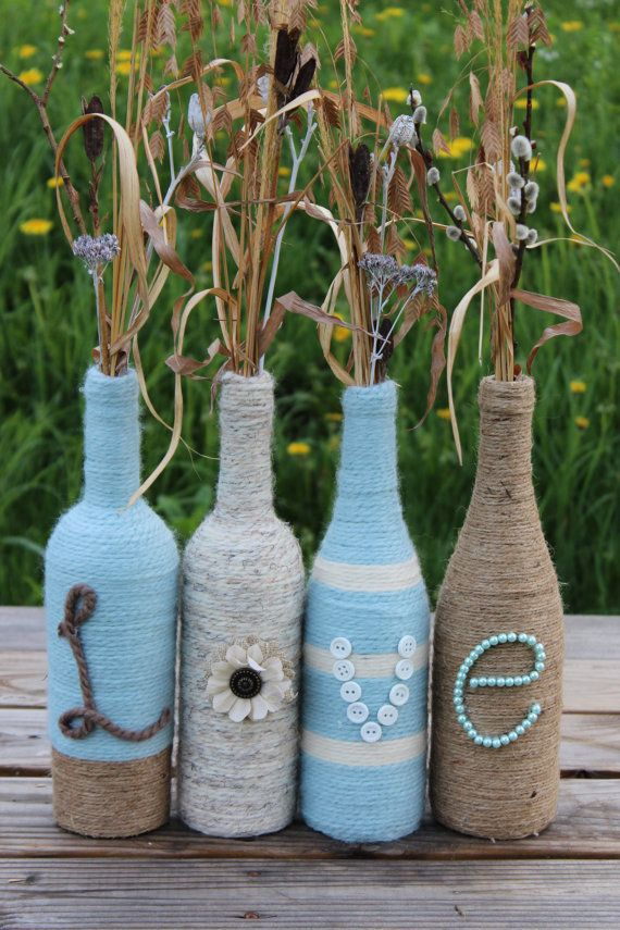 These bottles are the perfect accent to any home cottage wedding or other occasion deko - Leere weinflaschen deko ...