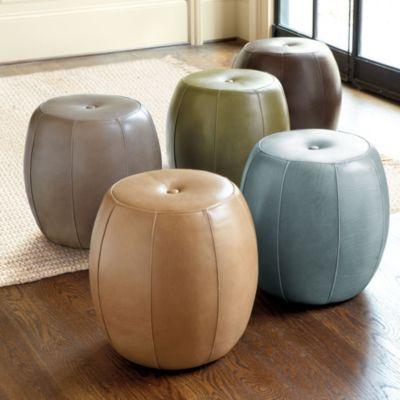 Magnificent Leather Pouf Ballard Designs 17 75H X 17Dia Sale 299 00 Short Links Chair Design For Home Short Linksinfo