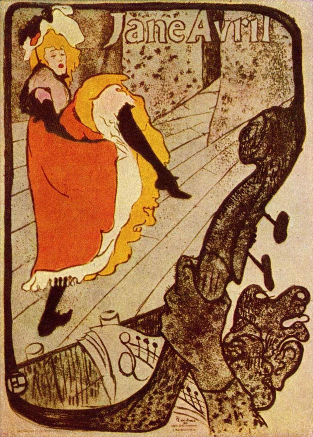 Jane Avril. Artist: Henri de Toulouse-Lautrec Completion Date ...