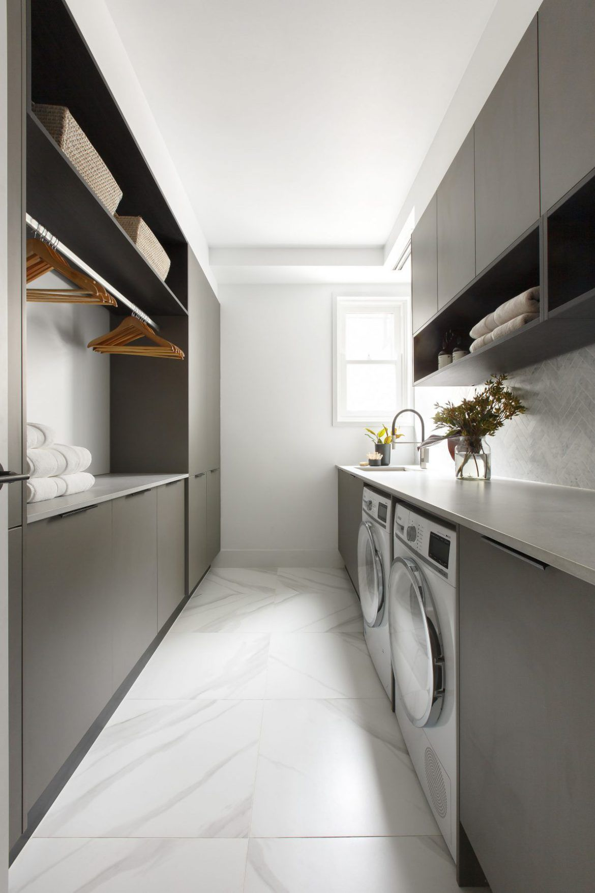 Kerrie and Spence created an elegant laundry on The Block