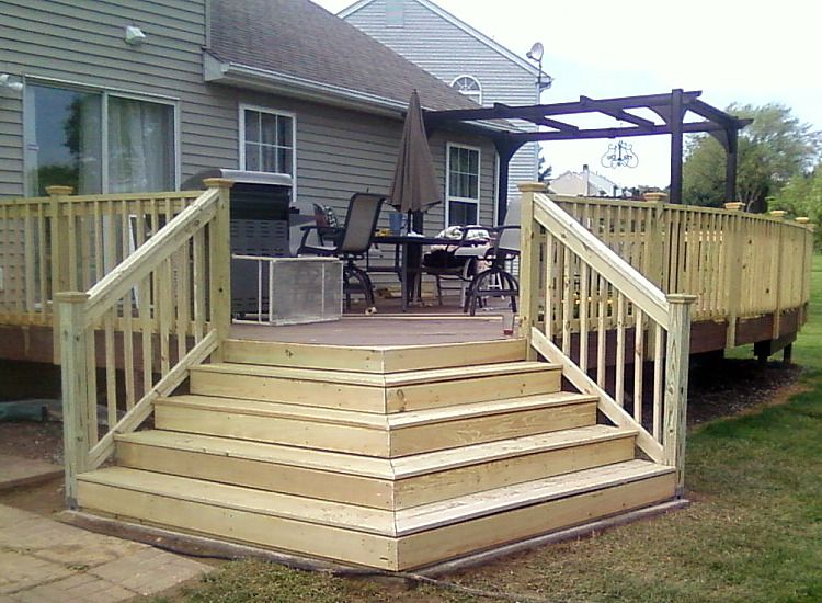 Deck Corner Stairs Design   Deck steps, Decks backyard ...