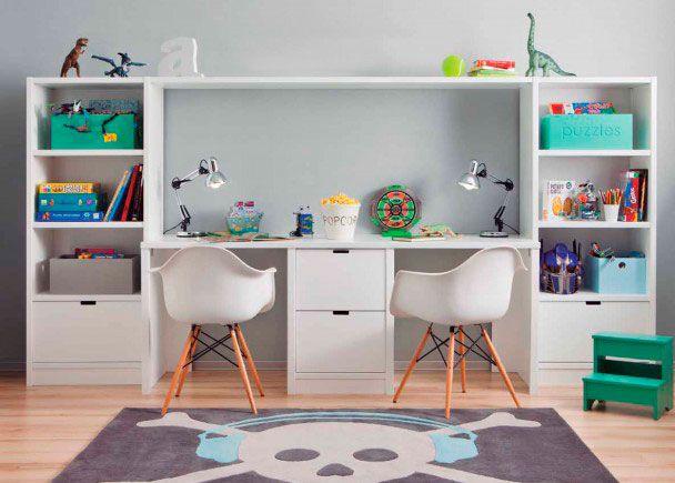 Zona de estudio doble para habitación infantil   ideas en casa ...
