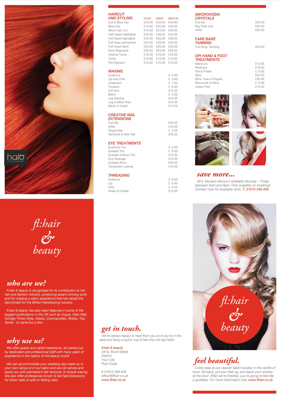 flhair beauty C Fold pricelist brochure Hair