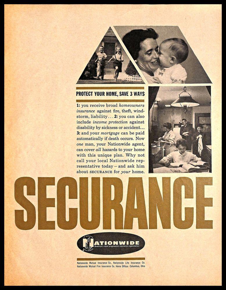 1960 Nationwide Insurance Company Vintage Print Ad Life