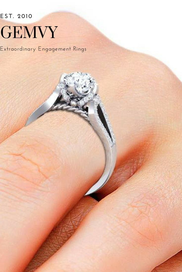Pave diamond engagement ring vintage engagement rings