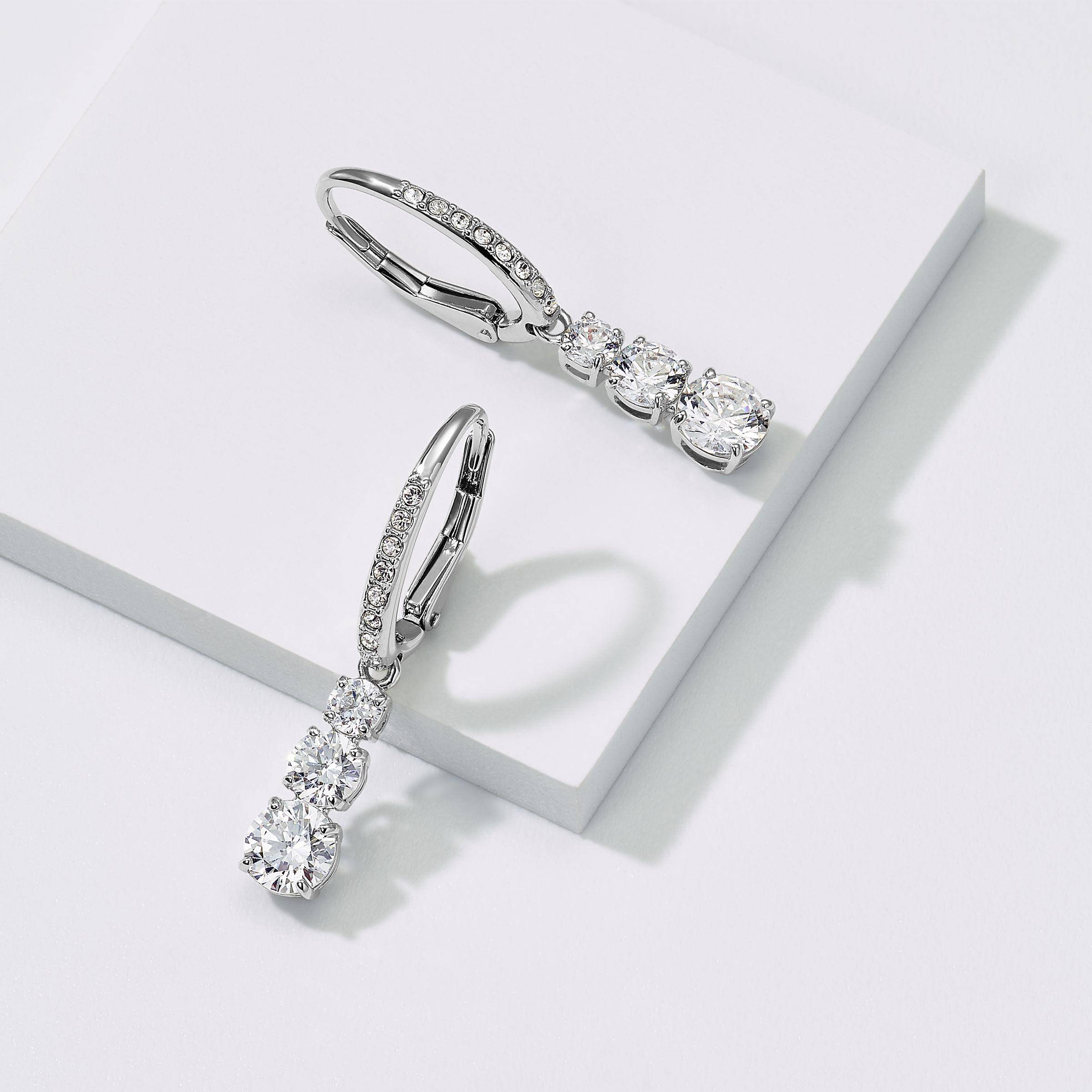 48975cb2f9 Attract Trilogy Round Pierced Earrings, White, Rhodium plating - Swarovski,  5416155