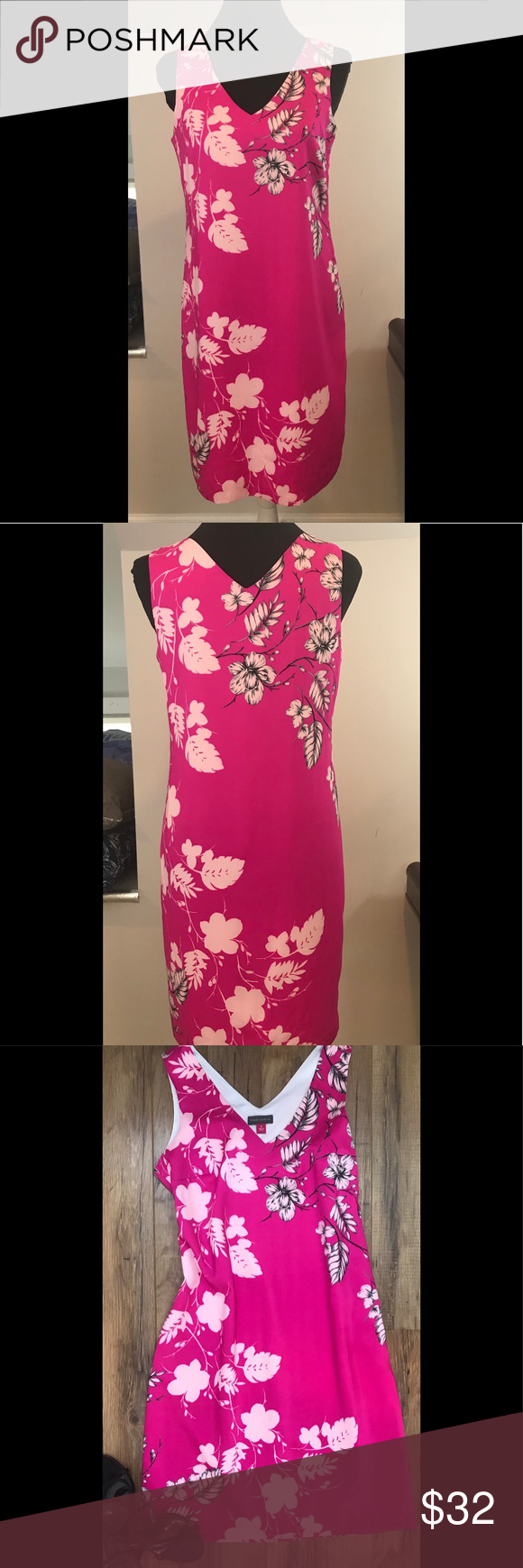 Vince Camuto Pink Floral V Neck Shift Dress Size 0 Dresses Vince Camuto Dress Shift Dress [ 1740 x 580 Pixel ]