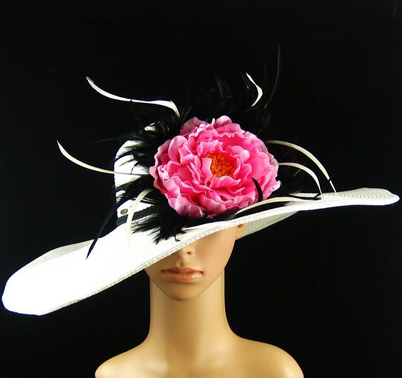 White Derby Hat with pink flower Dress Hat Wedding Hat Kentucky Derby Hat Wide Brim Hat Bridal Hat Ascot Racing Feathers Hat on Etsy, $69.97