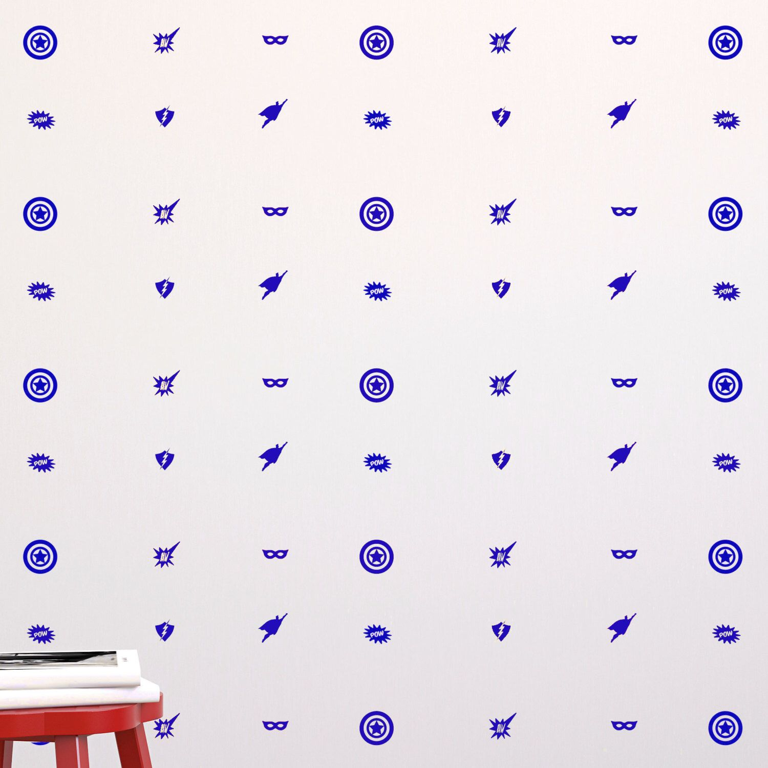 Superhero Icons Wall Pattern Repeatable Decal - Wall Decal Custom Vinyl Art Stickers for Interior Designers, Homes, Schools by danadecals on Etsy https://www.etsy.com/listing/210595775/superhero-icons-wall-pattern-repeatable