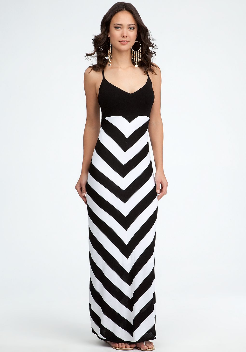 Fashion week White and Black striped maxi dress bebe for lady