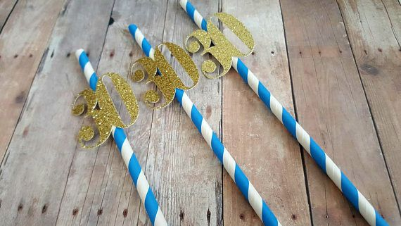 30th Birthday Decorations 30th Birthday Straws Blue and Gold