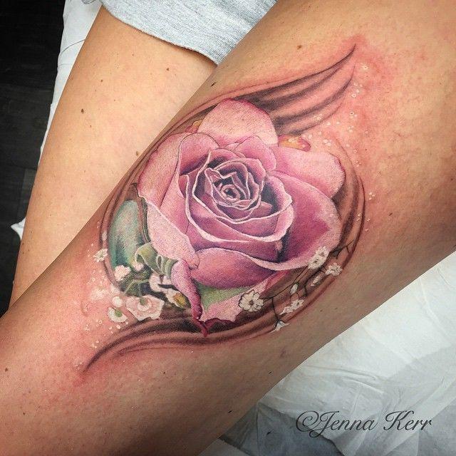 soft rose tattoo by jenna kerr tattoo floral pinterest rose tattoos tattoo and tattoo. Black Bedroom Furniture Sets. Home Design Ideas