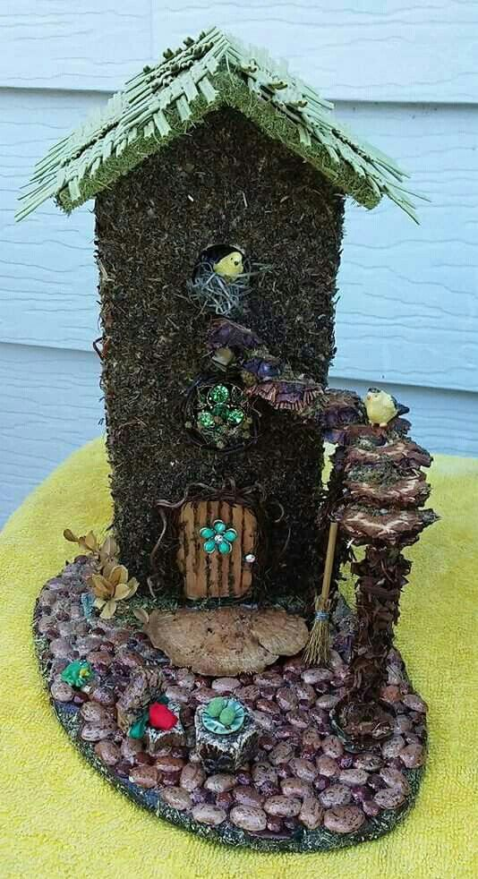 Fairy House With Hand Woven Palm Frond Roof Created From A Recycled Bird House Fairyhouse Handmade Recycled Birdhouse With Images Bird House Bird Houses Fairy House
