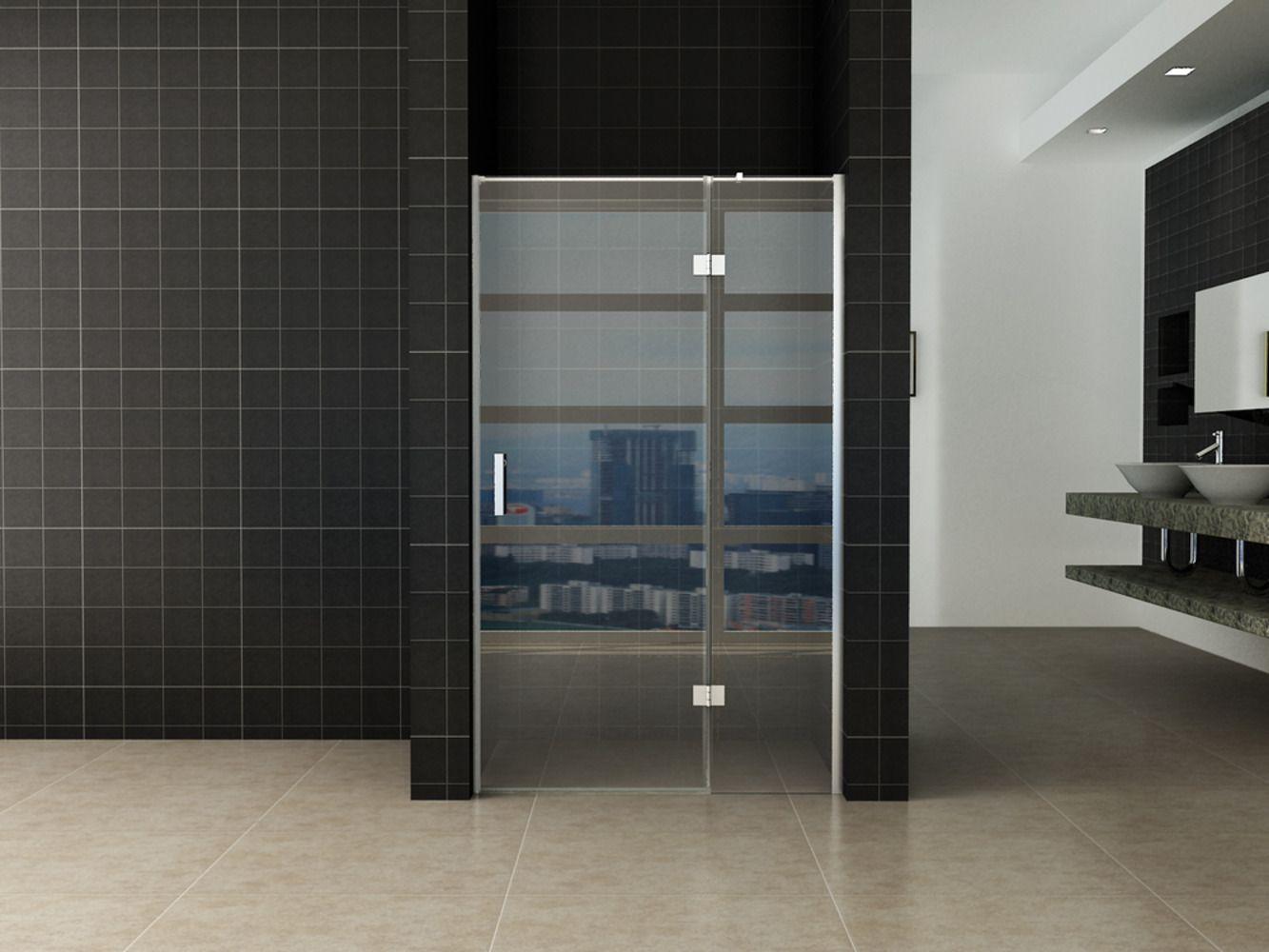 Wiesbaden douche draaideur 2-delig 140 cm met vast paneel   badkamer ...