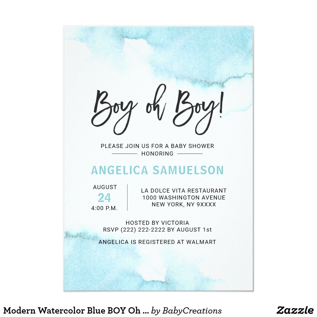Modern Watercolor Blue Boy Oh Boy Baby Shower Invitation Zazzle Com Baby Shower Invitations For Boys Baby Boy Shower Baby Boy Shower Party