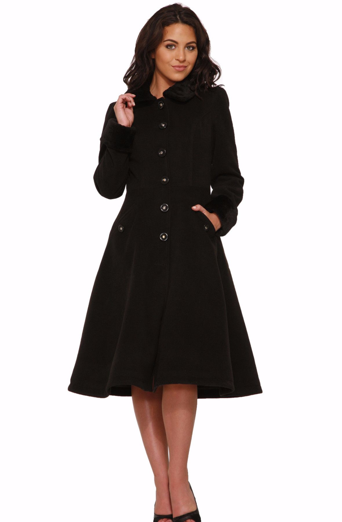 Hearts Amp Roses Black Colette Full Skirted Coat Products