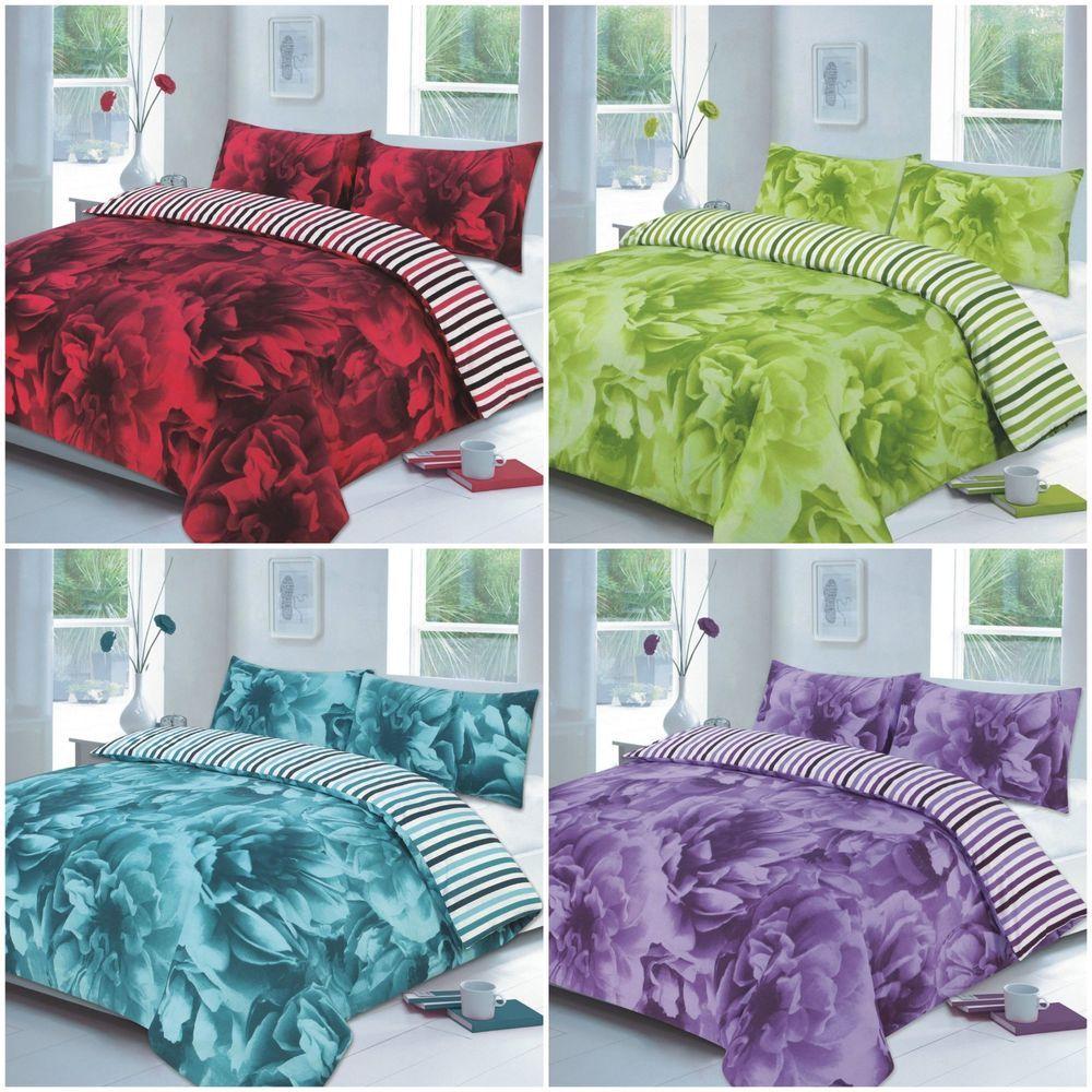 Floral Duvet Cover Set With Pillow Case Bedding Quilt Single Double Super King