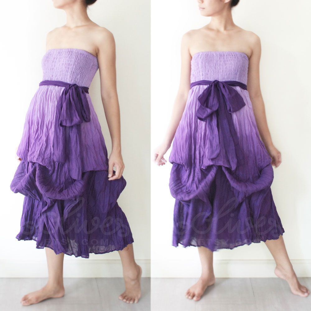 Tie Dyed Romantic Strapless Maxi Dress in Violet. $40.00, via Etsy.