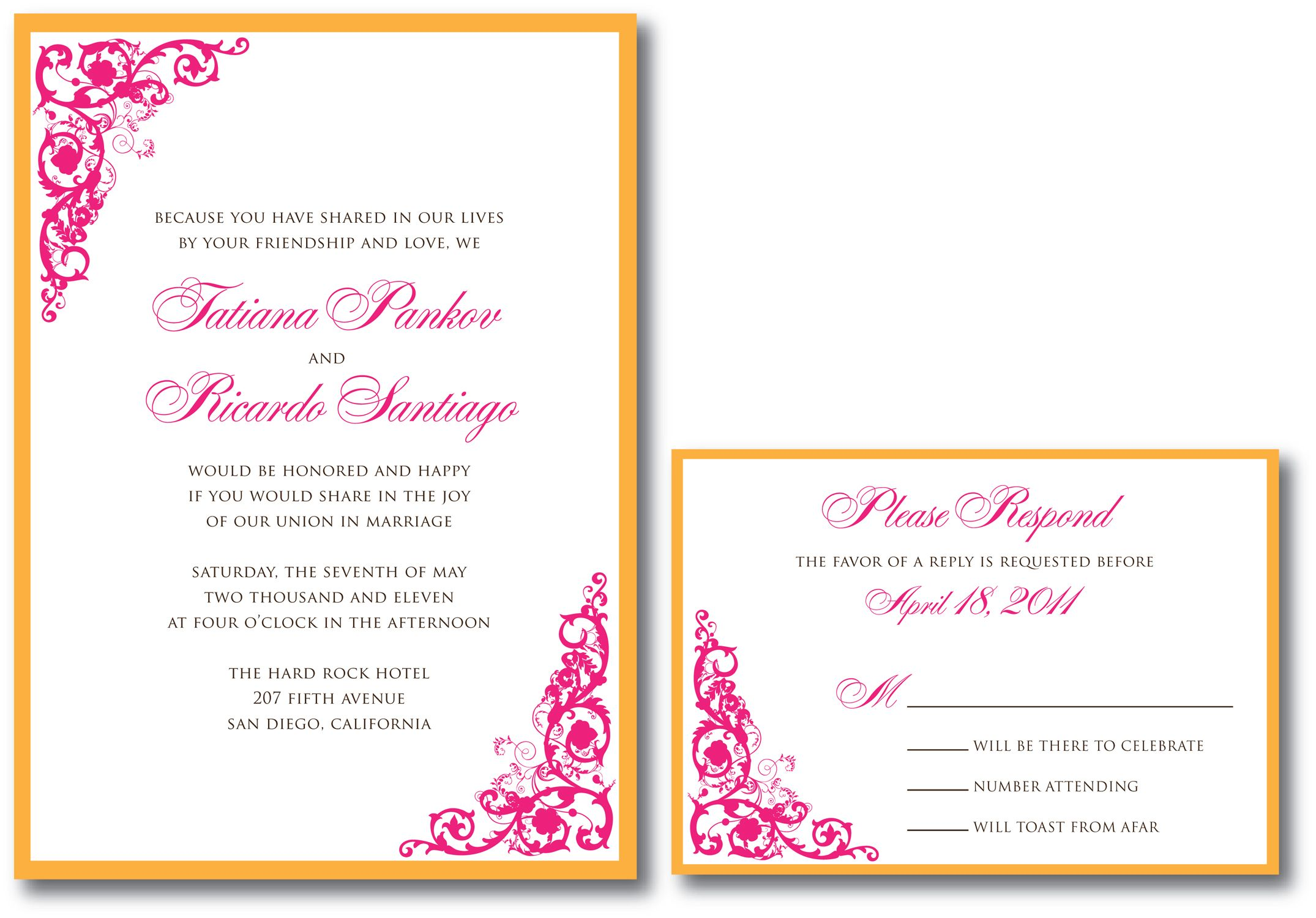 pink and orange wedding invitations | extravagant wedding ...