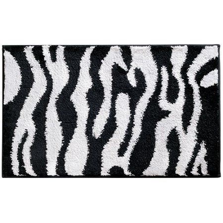 InterDesign Microfiber Zebra Bathroom Shower Accent Rug Inch X - Black and white zebra bath rug for bathroom decorating ideas
