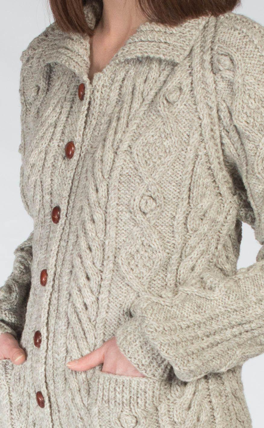 Ladies Luxury Hand-Knitted Aran Cardigan - Ness. Scotweb | irish ...