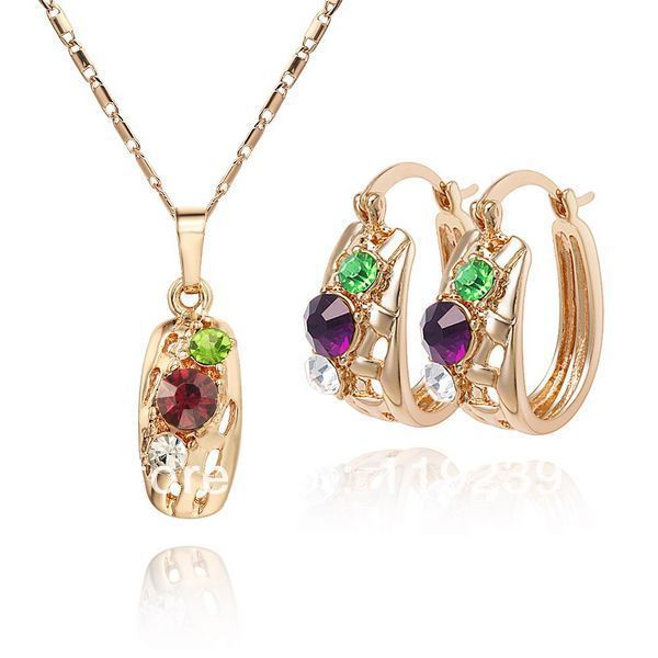 You can get Free shipping 18K CC color Rhinestone Crystal Gold