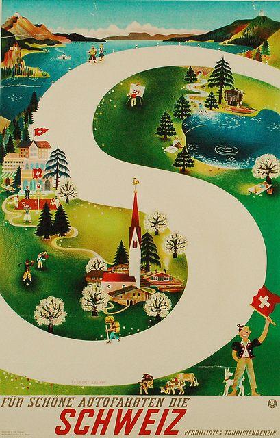 Vintage travel poster for switzerland