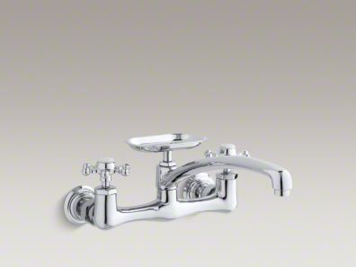 K 159 3 Antique Wall Mount Sink Faucet With 12 Inch Spout Kitchen Sink Faucets Sink Faucets Faucet