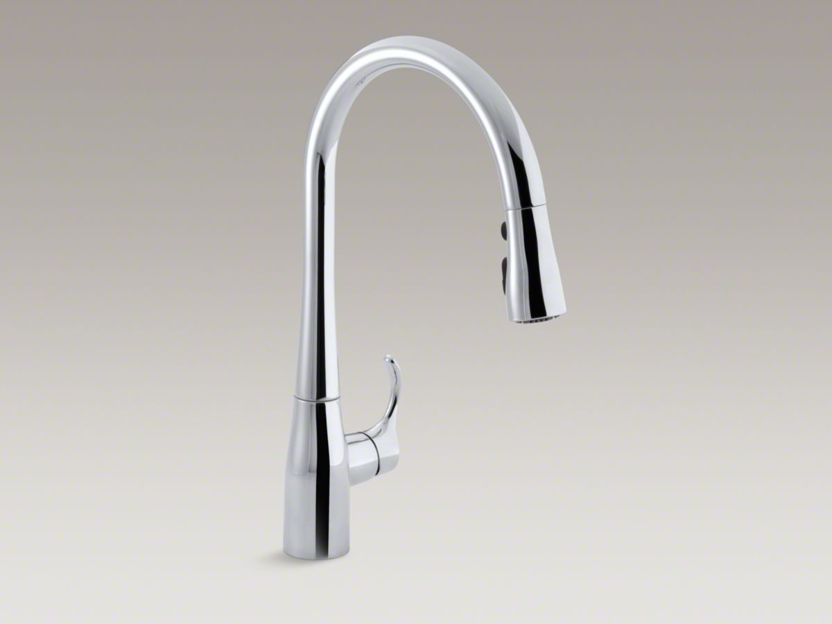 Simplice® Single-hole or three-hole kitchen sink faucet with 16-5/8 ...