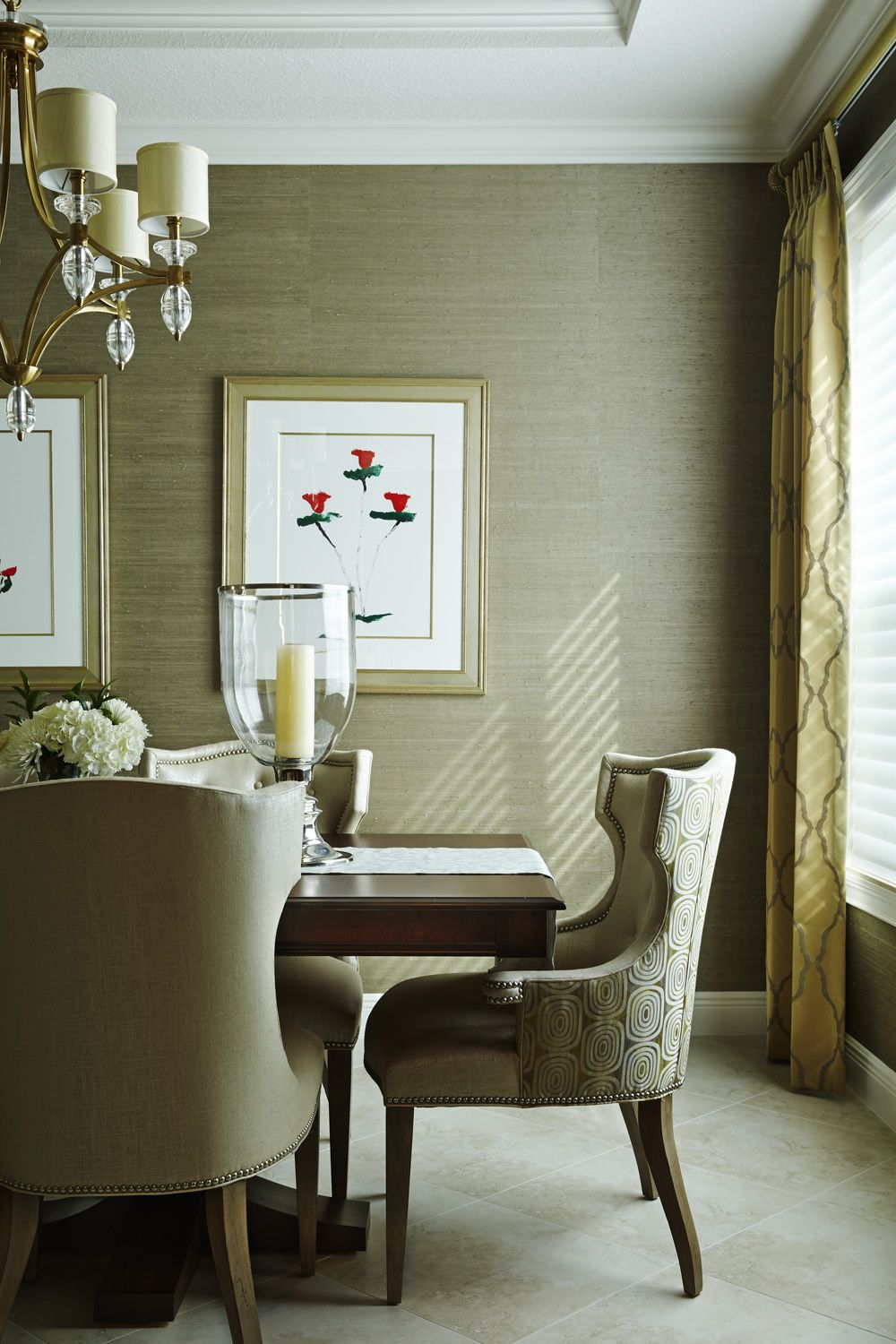 Dining Room Kravet Fabric Was Used On The Chairs And Drapery Grasscloth Wallpaper West Palm Beach FloridaHunter
