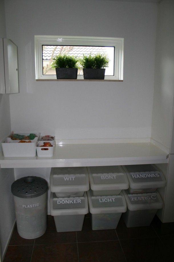 Bekend Wasruimte met vouwplank en ikea (voor-sorteer) wasmanden &KB33