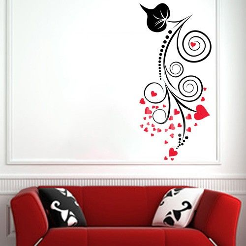 Abstract swirly branch with heart leaves wall decals stickers