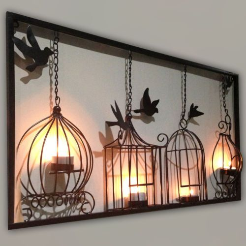 Birdcage tea light wall art metal wall hanging candle holder black birdcage tea light wall art metal wall hanging mozeypictures Image collections
