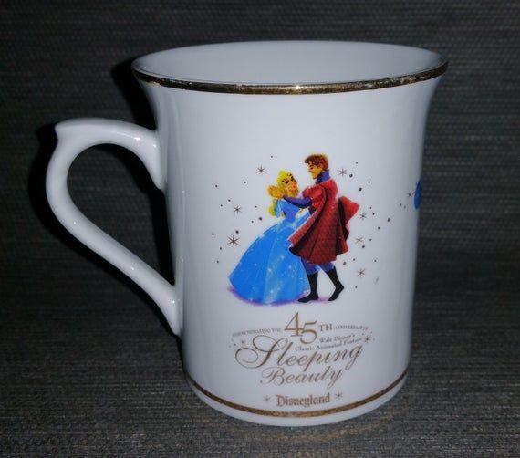 Vintage Disney Mug. RARE Sleeping Beauty 45th Anniversary. Classic Animated Movie. The Royal Waltz. Ceramic with Gold Trim. Ron Dias Art