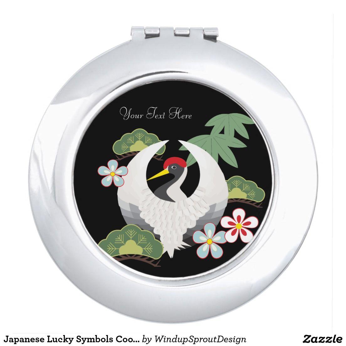 Japanese Lucky Symbols Cool Elegant Black Compact Mirror