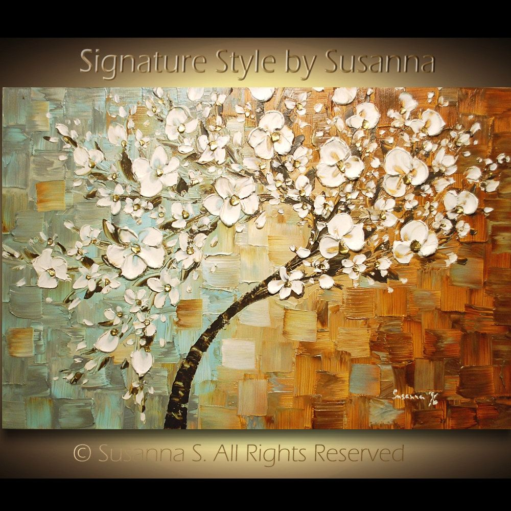 Original Contemporary Gallery Fine Art By Susanna Large Abstract White Cherry Blossom Tree Landscape Extra Thi Oil Painting Gallery Painting White Painting
