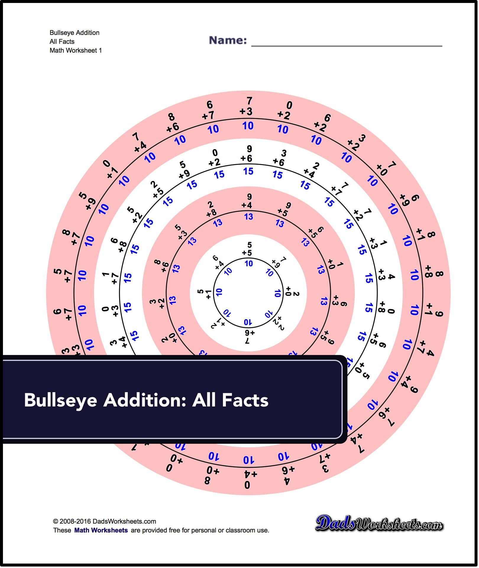 Bullseye Addition: Another unique way to practice your math facts ...