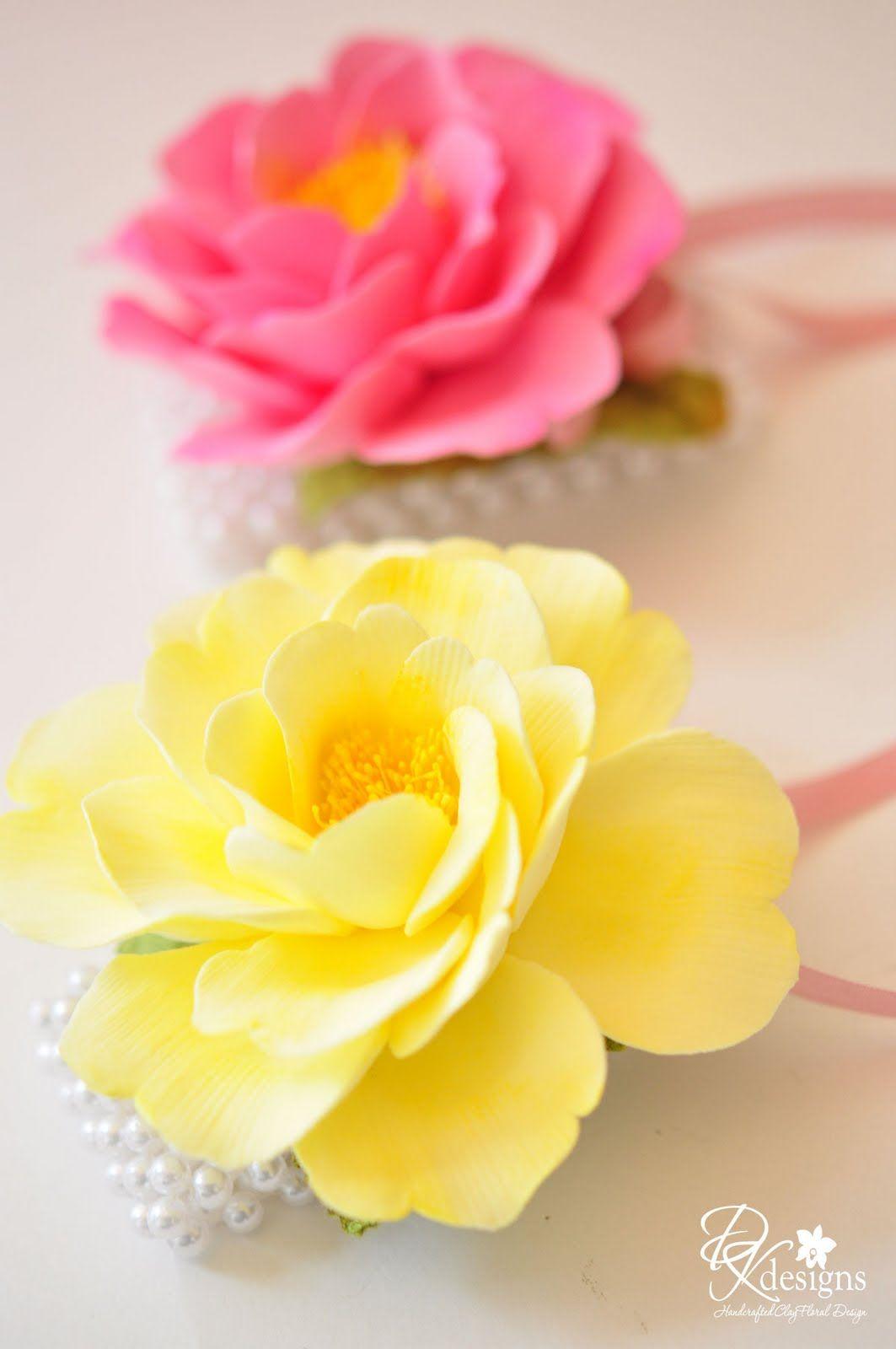 Dk Designs More Pink And Yellow Flowers Flores De Porcelana